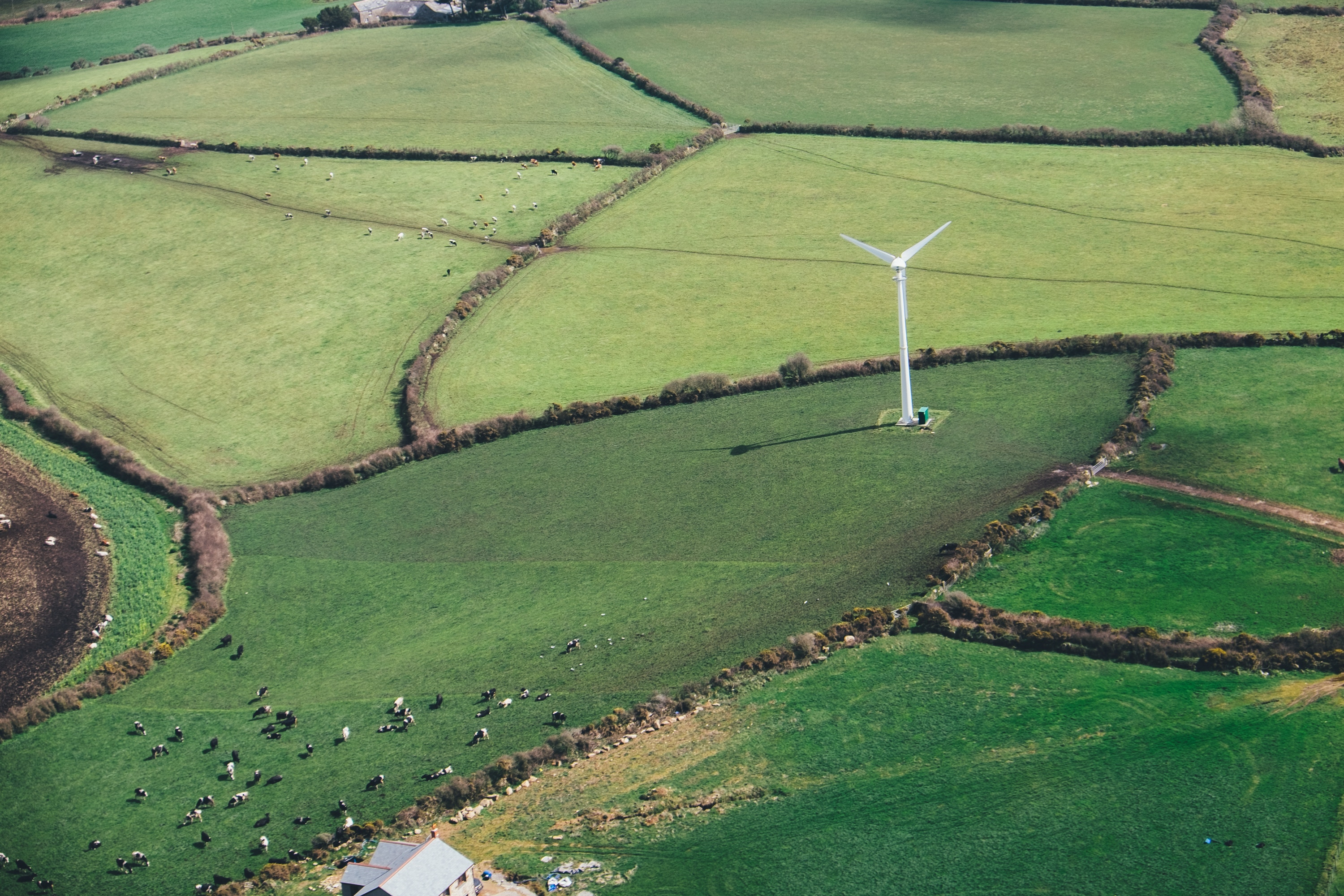birds eye view of a wind mill in a grass field for green energy.