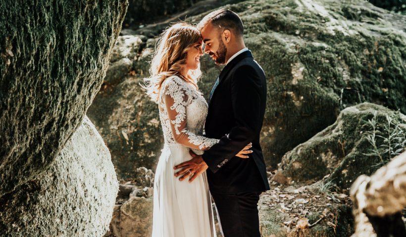 bride and groom in wedding dress